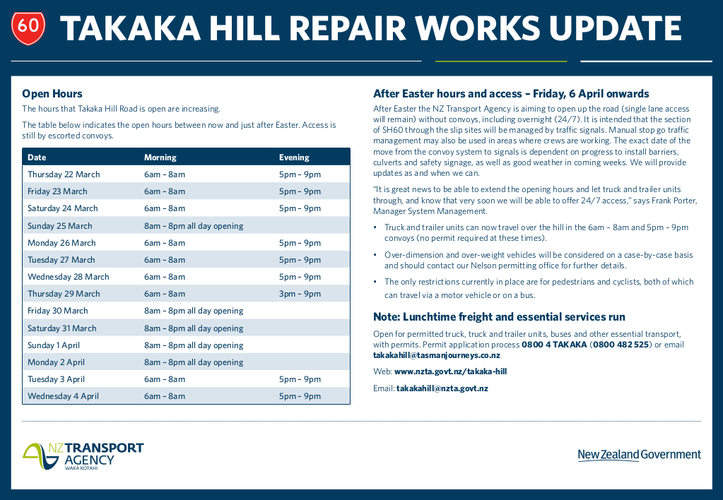 6207 NZTA SH60 Takaka Hill Repairs advert TG 2
